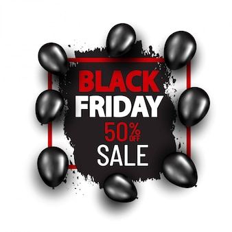Black friday special offer banner with black balloons. shopping banner concept