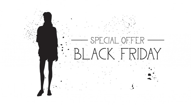 Black friday special offer banner with grunge rubber fashion model female silhouette on white
