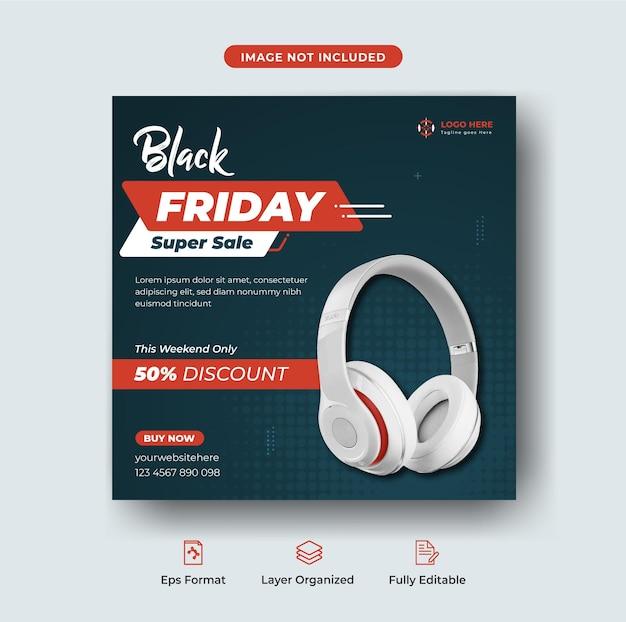 검은 금요일 특별 제공 헤드폰 판매 인타그램 게시물 또는 편집 가능한 웹 배너 템플릿 premium vect