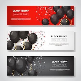 Black friday special offer sale banner set