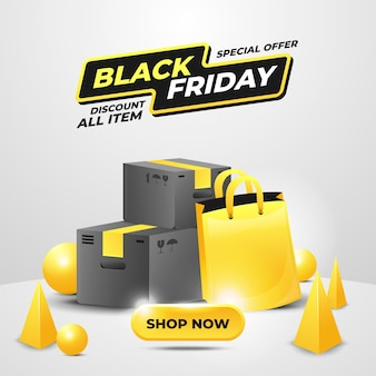 Black friday special offer sale banner in yellow color