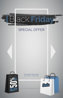 Black friday special offer web banner vector template. up to 50 percent off promo. shopping bags realistic 3d vector design elements. online shop landing page. creative advertisement