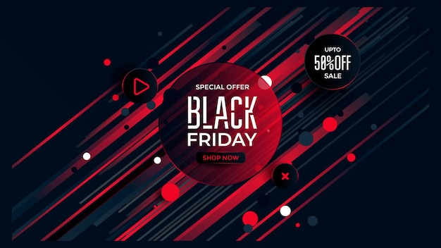 Black friday special offer with black and red color accent sale banner for social media