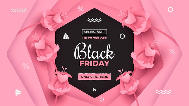 Баннер со специальной распродажей черной пятницы в розовом стиле papercut