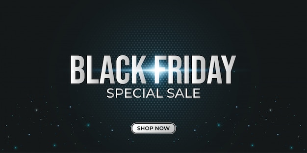 Black friday special sale banner with dark halftone background