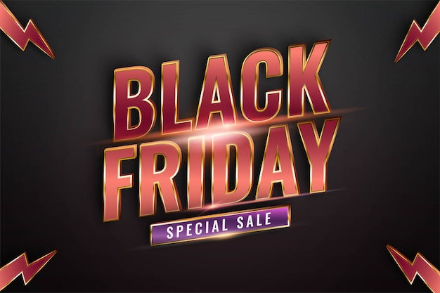 Black friday special sale with effect theme metal red gold color concept for trendy flayer and banner template promotion market online