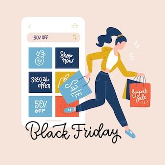 Черная пятница квадратный баннер. смартфон с покупками на экране и счастливая женщина с хозяйственными сумками. интернет-магазины и концепция осенних продаж. плоский рисунок с буквами.