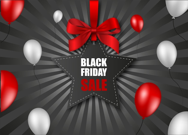 Black friday star-shaped price tag with red bow and balloons on black sunburst background