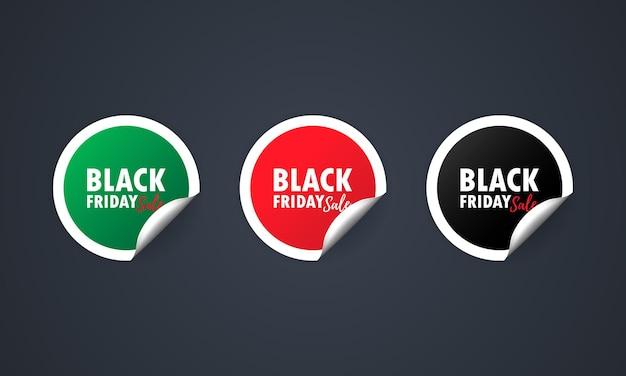 Черная пятница. набор наклеек. скидка красный набор наклеек специальное предложение. скидка на продвижение.