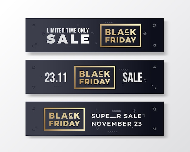 Black friday stylish premium banners set. modern typography concept.