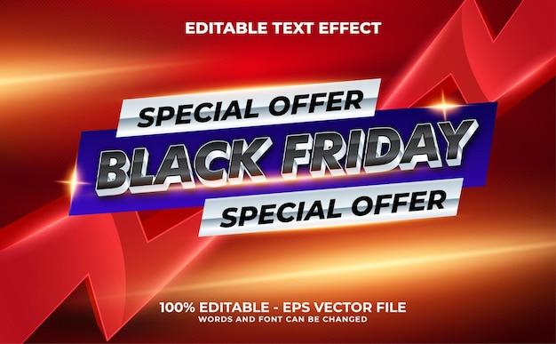 Black friday super sale 3d modern editable text effect template style premium vector