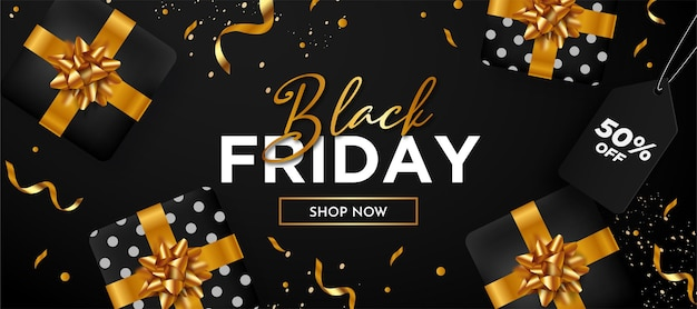 Black friday super sale background with gift composition