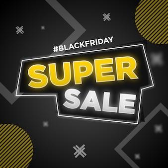 Black friday super sale banner social media post Premium Vector