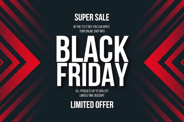 Black friday super sale banner with abstract red shapes background