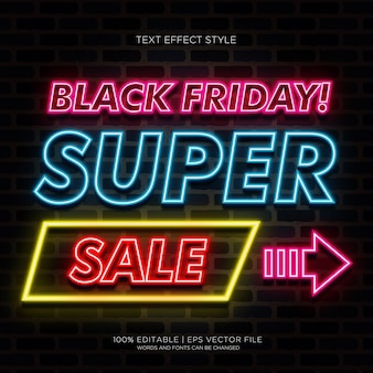Black friday super sale banner with neon text effects