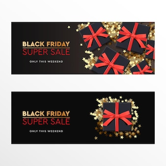 Black friday super sale. black gift box with red bow on dark background. vector illustration