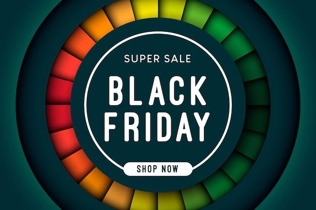 Черная пятница супер распродажа в форме круга с красочным слоем
