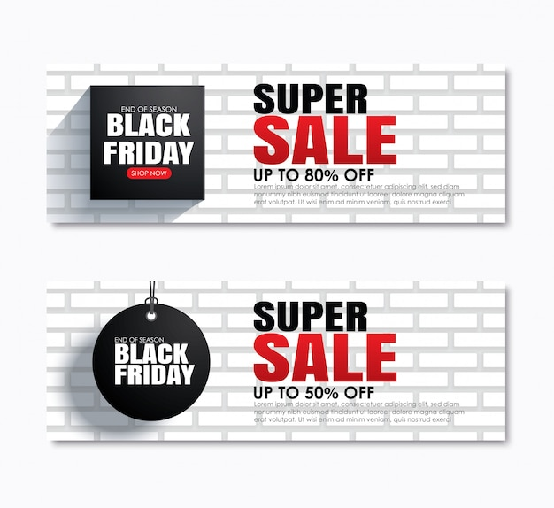 Black friday super sale cover and web banner template