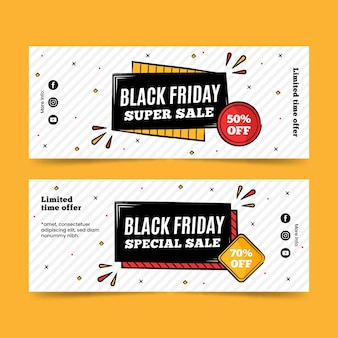 Black friday super sale hand drawn banners Premium Vector