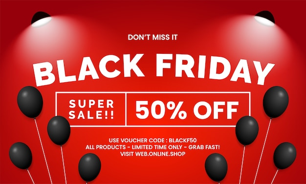 Black friday super sale online shop banner promotion template design with balloons and spotlight lamp