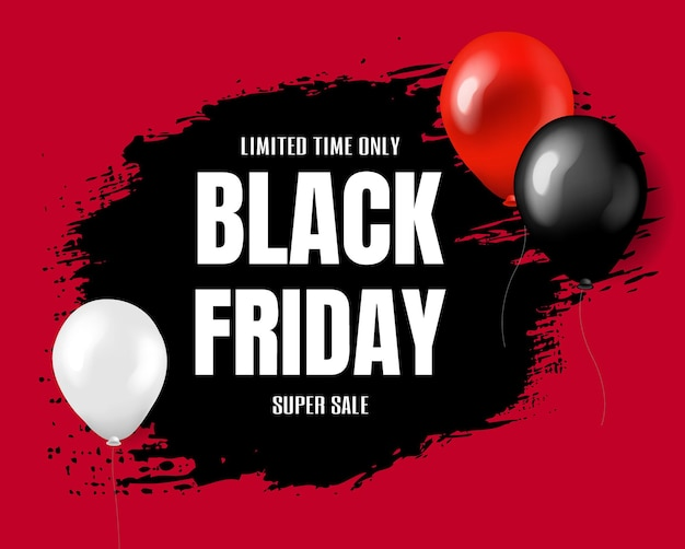 Black friday super sale poster with gradient mesh,