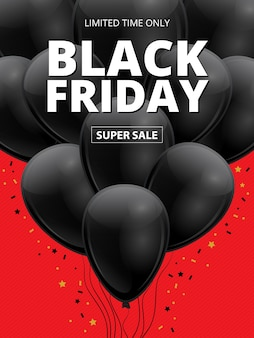 Black friday super sale. realistic 3d shiny dark ballons with gold stars