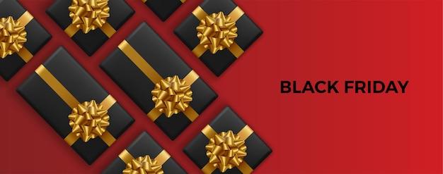블랙 프라이데이 슈퍼 세일. 현실적인 검은 선물 상자. 골든 텍스트.