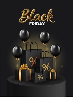 Black friday super sale realistic black gifts boxes and shopping bag on black podium