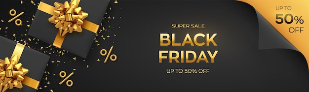Black friday super sale. realistic black gifts boxes with golden bows. dark background with present boxes and golden percent symbols. horizontal banner, poster, header website. vector illustration.