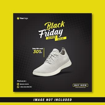 Black friday super sale social media banner template