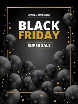 Шаблон супер распродажи черной пятницы с черными шарами и золотыми звездами
