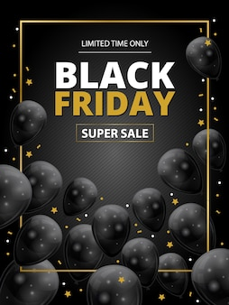 Black friday super sale template with black ballons and gold stars