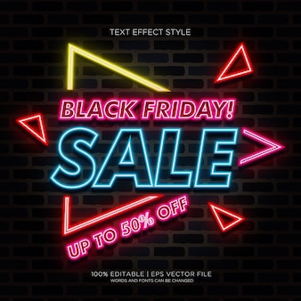 Black friday super sale up to 50% off banner with neon text effects