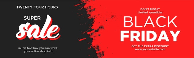 Banner del sito web di vendita eccellente del black friday con red splash