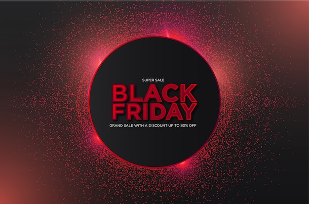Super vendita del black friday con particelle 3d astratte