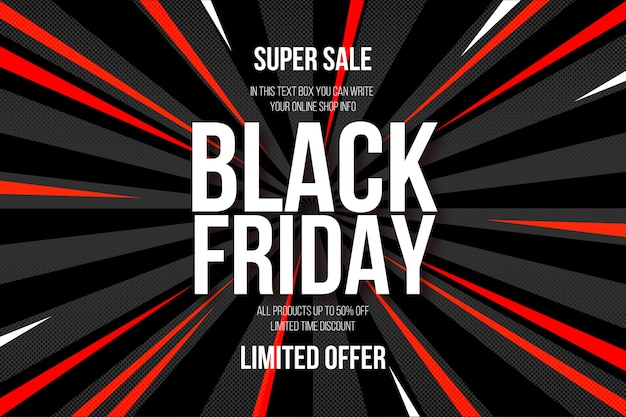 Super vendita del black friday con sfondo comico astratto