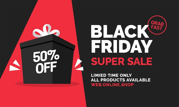 Black friday super sale with big gift prize box social media web banner template design