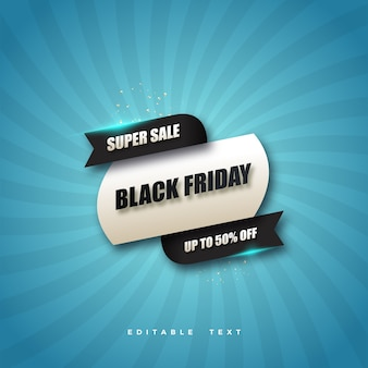Black friday super sale with blue background.