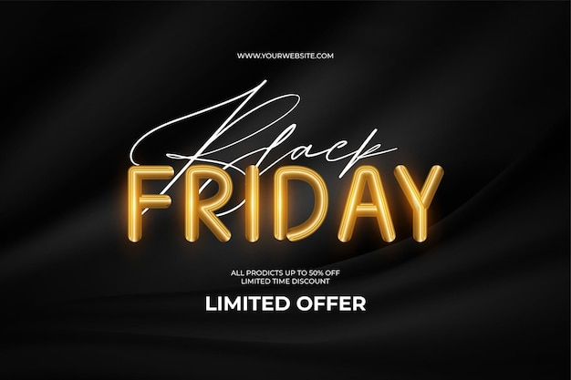 Black friday super sale with golden text and black courtain background