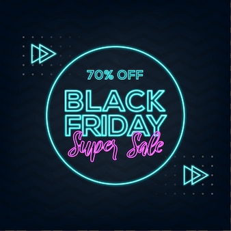 Black friday super sale with neon effect and abstract background