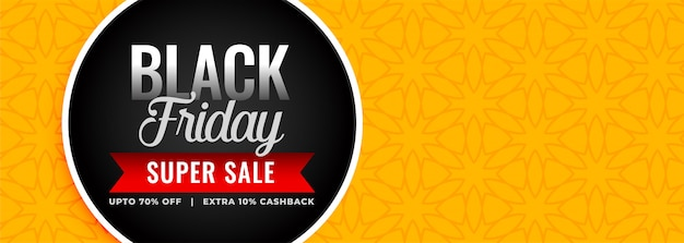Black friday super sale yellow banner template