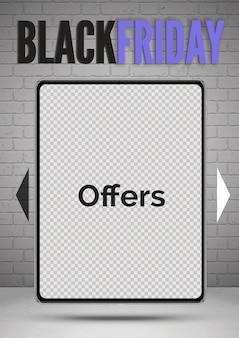 Специальное предложение для планшетов «черная пятница» предлагает реалистичный шаблон баннера. портативное устройство с прозрачным фоном экрана. гаджет 3d. макет рекламного плаката со скидками на электронику
