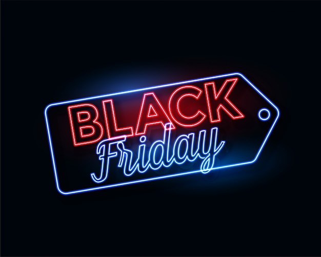 Black friday tag in glowing neon lights