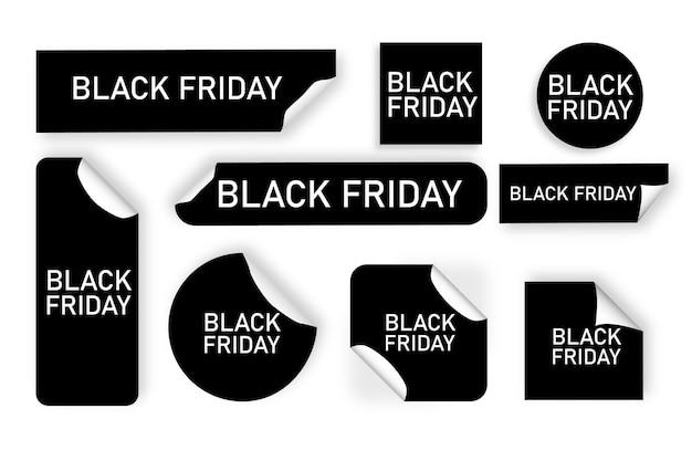 白い背景の上の黒い金曜日のタグ。黒の価格ステッカー。特別なオファー。