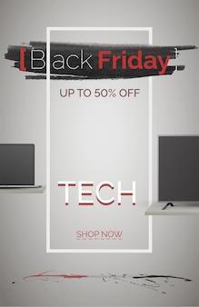 검은 금요일 기술 판매 배너 벡터 템플릿입니다. 계절 할인 포스터입니다. 가격 인하와 함께 기술 쇼핑. 최대 50% 할인. 지금 3d 디자인 일러스트레이션을 쇼핑하세요. 세련된 프레임 광고
