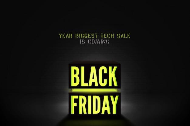ブラックフライデー技術販売ベクトルバナーテンプレート。黒の背景に黄色のネオンライト割引オファー。輝くテキストを備えたトレンディな電子機器の特別価格のプロモーション。季節のクリアランスポスターデザイン