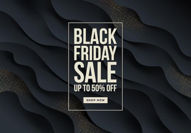 Black friday template design - black fluid wavy layered shape with golden halftone.