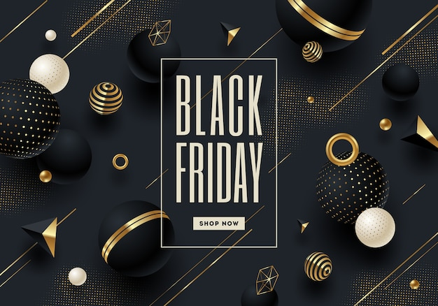 Black friday template design with black and gold geometric shape and elements.