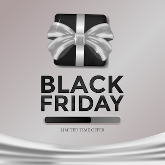 Black friday template limited time offer with gift box