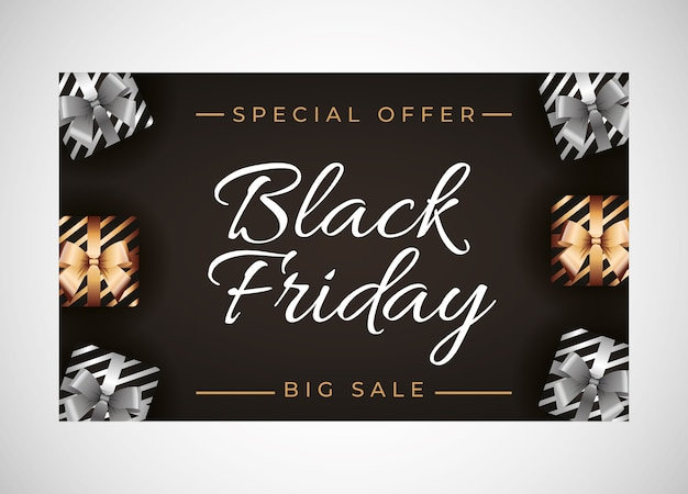 Black friday template with silver and gold gift over black background
